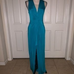 Turquoise BEBE Halter Maxi Dress Sz MM